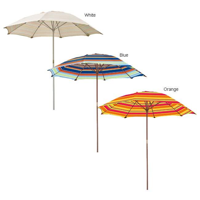 Striped Wooden 6 5 Ft Patio Umbrella Overstock