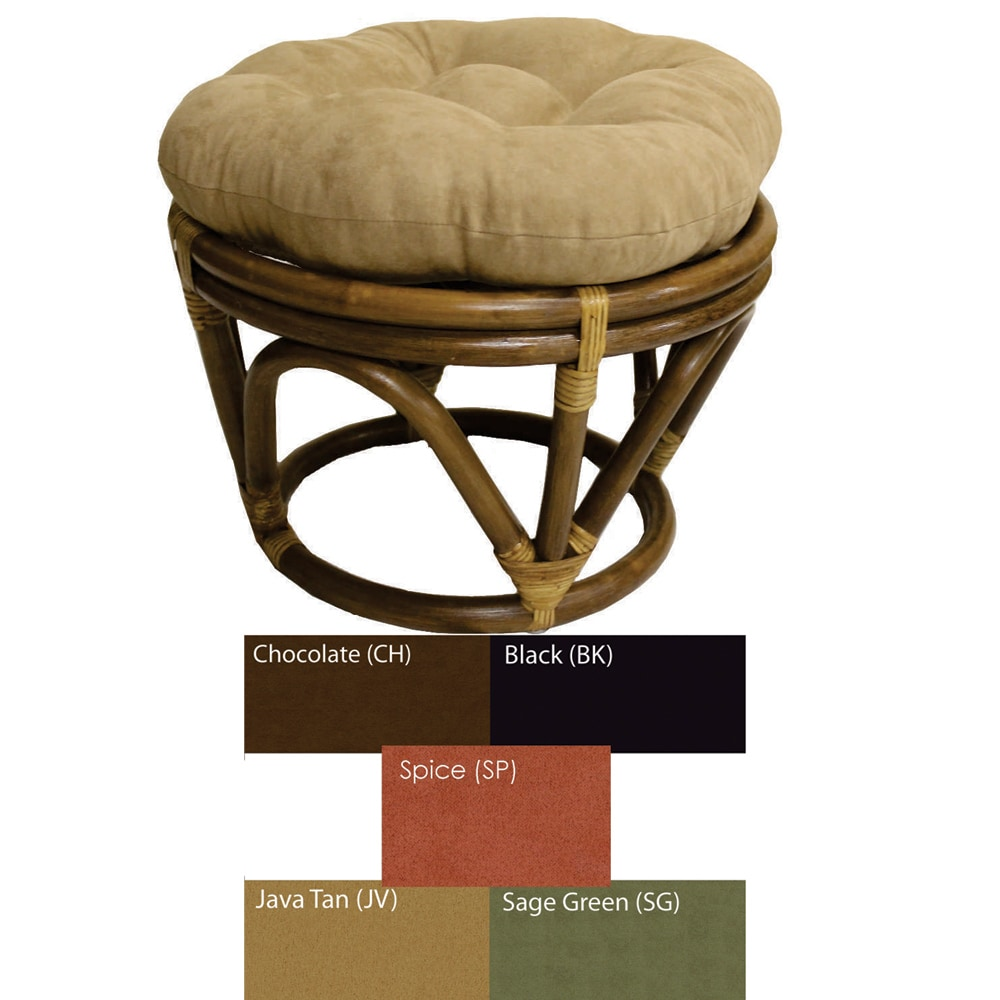 Rattan Papasan Footstool With Micro Suede Cushion