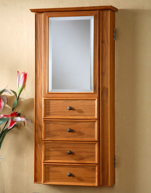 Oak Wall-mount Mirrored Jewelry Armoire - Overstock ...