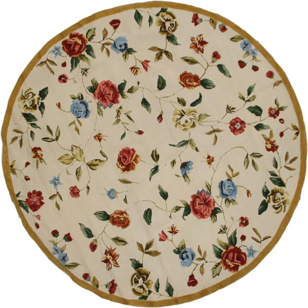 Hand Hooked Bright Floral Cotton Rug 6 Round 10665867