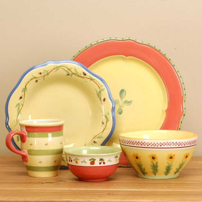 Hand Painted Pfaltzgraff Pistoulet 20 Piece Dinnerware Set