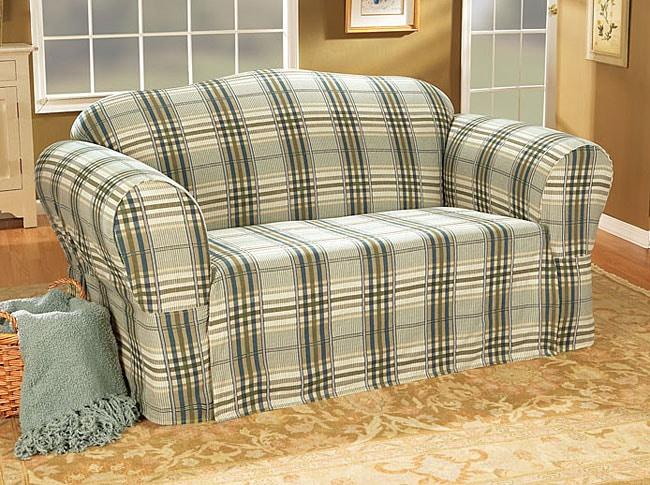 Bedford Plaid Washable Sofa Slipcover 10719675
