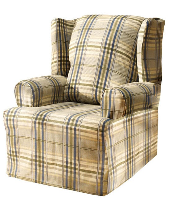Bedford Plaid Washable Wing Chair Slipcover 10719679