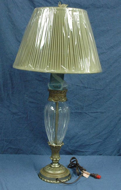 Stiffel Crystal Table Lamp With Silk Shade Overstock