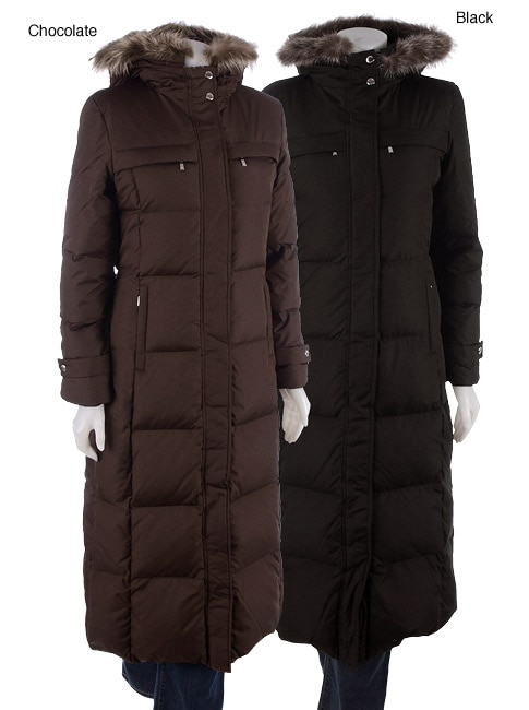 Michael Michael Kors Long Down Coat With Fur Trim