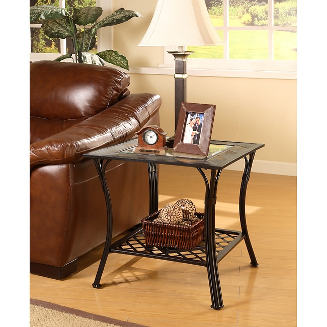 Slate Coffee And End Table Set: Slate/ Glass/ Steel End Table
