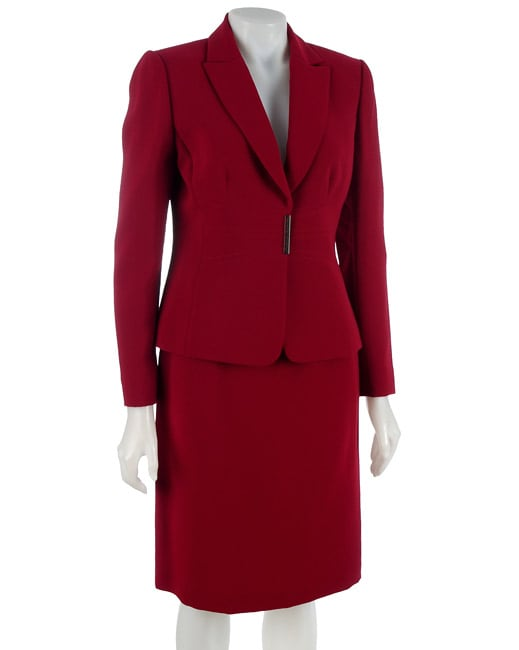 69f504b151c1 Tahari ASL 2 piece Womens Red Skirt Suit on PopScreen