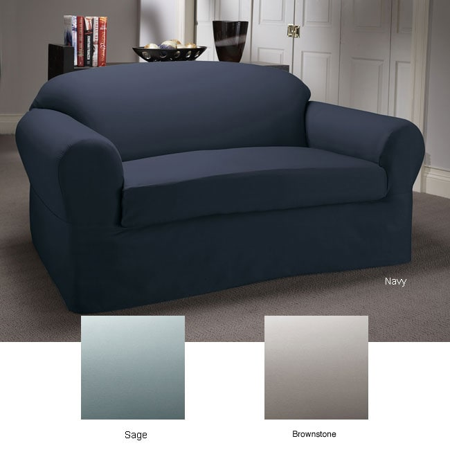 Two Piece Twill Stain Resistant Sofa Slipcover 10796876