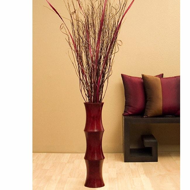 Scalloped Floor Vase Amp Burgundy Palm Stalks 10797345 Overstock Com Shopping Great Deals On