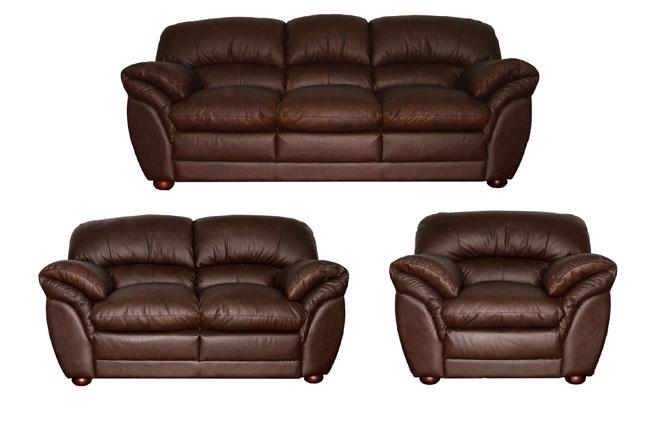 Carter Chestnut Leather Sofa Loveseat And Chair