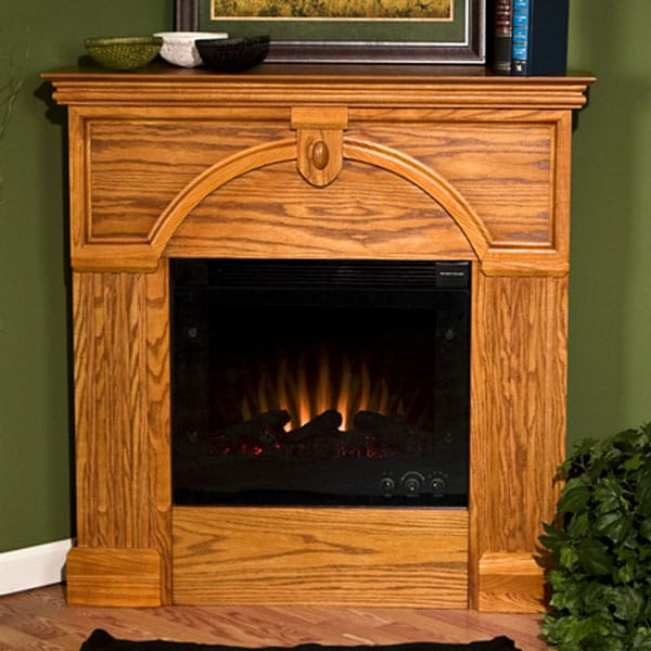 Turin Golden Oak Electric Corner Fireplace Overstock