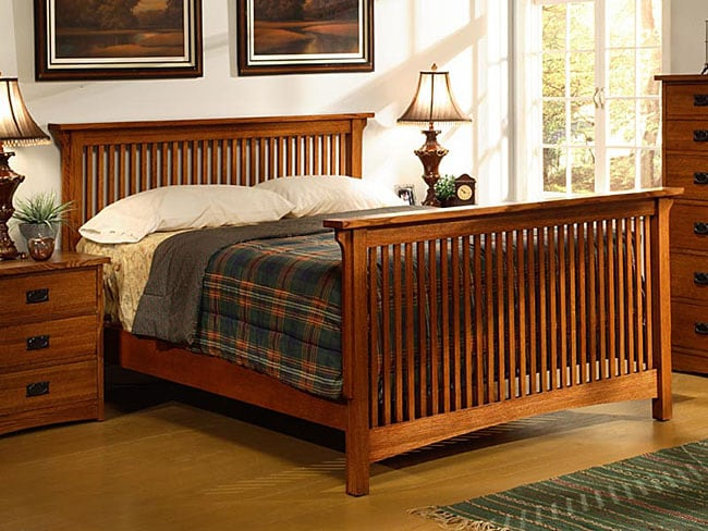 Mission Solid Oak King Size Spindle Bed 10872064 Overstock Com Shopping Great Deals On Beds