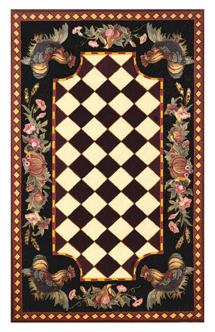 Tuscany Rooster Black Rug 7 10 Round 10872103