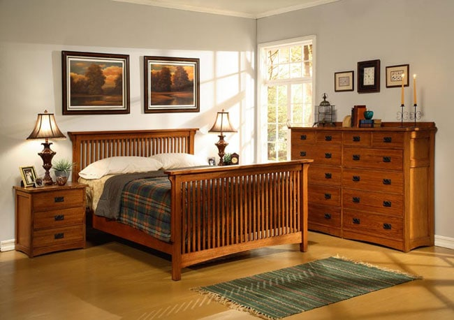 Mission Solid Oak 4 Piece Cal King Bedroom Set W 12