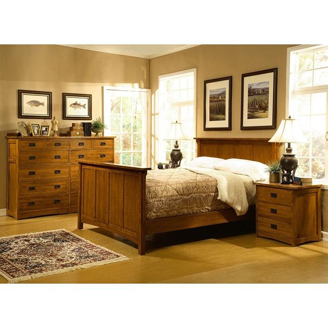 Overstock Com Bedroom Furniture: Mission Solid Oak 4-piece Queen Bedroom Set W/ 12 Drawer