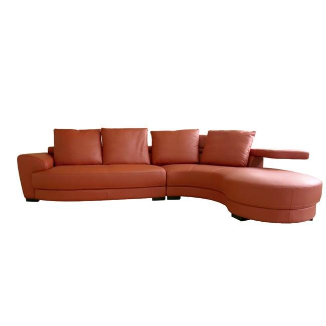 Leopold Burnt Orange Full Leather Sofa Set 10877103