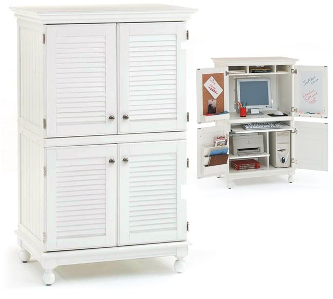 Computer Armoire With Distressed White Finish 11062995