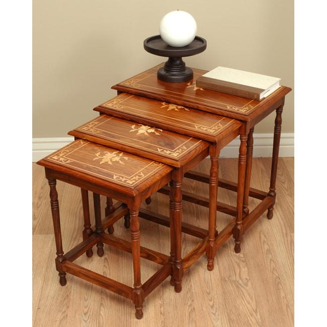Flower Furniture Wood Nesting Table Set (Pakistan