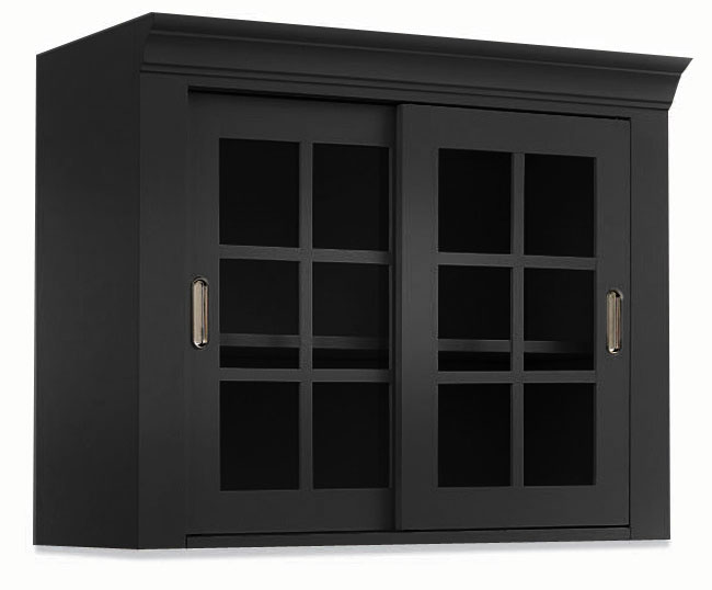 Black Wall Storage Top Cabinet With Sliding Glass Doors
