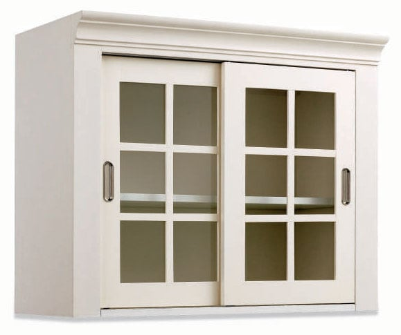 White Wall Storage Cabinet With Sliding Glass Doors
