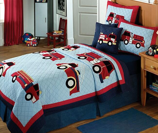 Broken Bedroom Door Fire Engine Bedroom Accessories Bedroom Before And After Makeover Warm Bedroom Colors And Designs: Fire Truck Children's Quilt Set