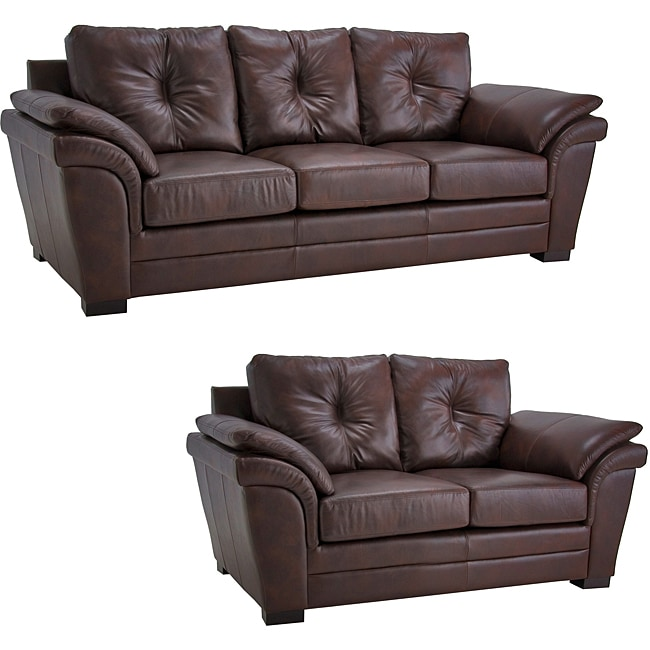 Brown Pillow Top Arm Leather Sofa And Loveseat Set