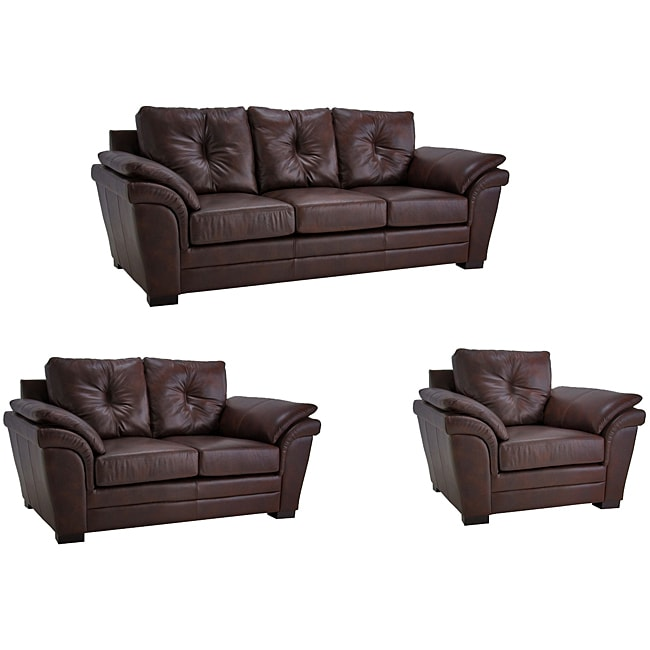 Brown Pillow Top Arm Leather Sofa Loveseat And Chair