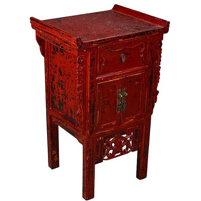 Crackle Kitchen Cabinets: Dark Red Crackle-finish Cabinet/ End Table