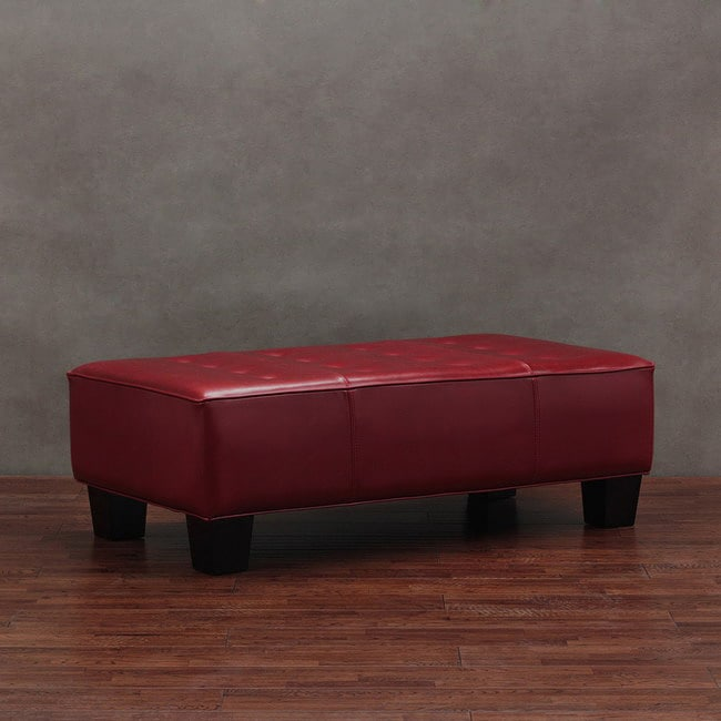 Button Tufted Burnt Red Leather Bench 11372455