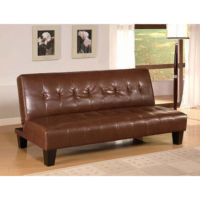 Sofa Bed Deals: Brown Vinyl Leatherette Futon Sofa Bed