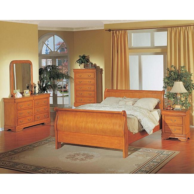 Louis Philippe Oak 5-piece Queen Sleigh Bedroom Set
