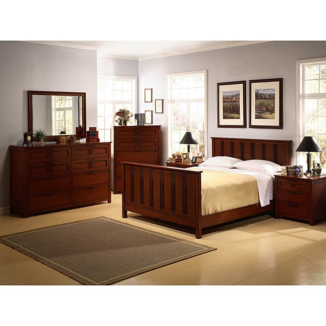 Bedroom Sets Clearance Free Shipping: Cherry Mission-style 6-piece King Bedroom Set