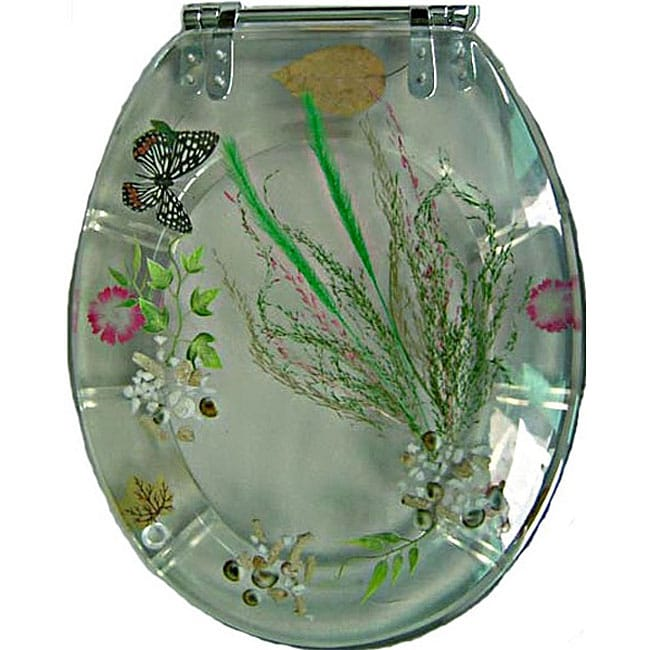 Butterfly Polyresin Elongated Toilet Seat 11525432