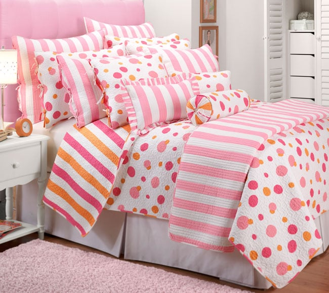 big dot small dot pink orange quilt set 11537931 shopping great deals on. Black Bedroom Furniture Sets. Home Design Ideas