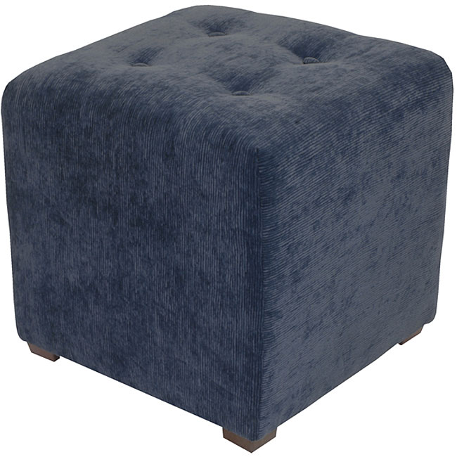 Navy Corded Button Tufted Cube Ottoman 11544712
