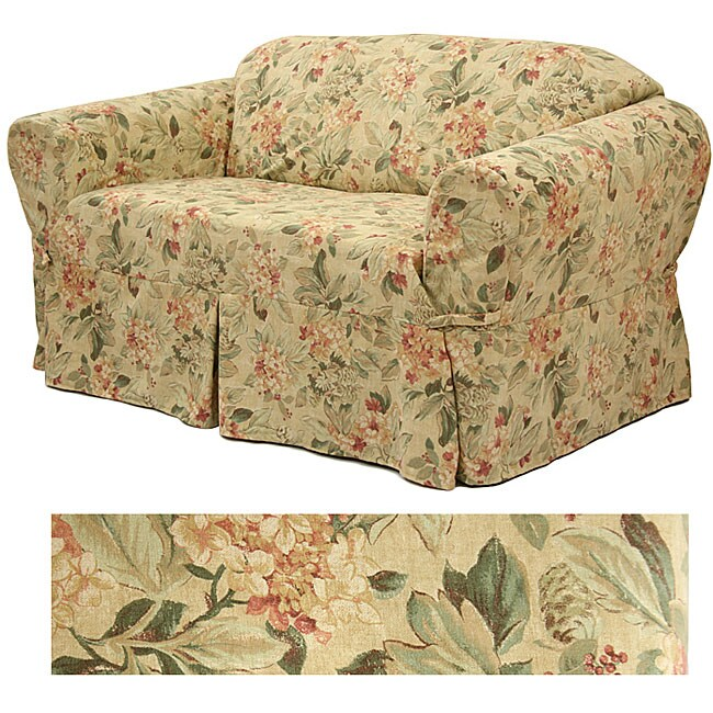 Admirable Floral Print Loveseat Slipcover On Popscreen Machost Co Dining Chair Design Ideas Machostcouk