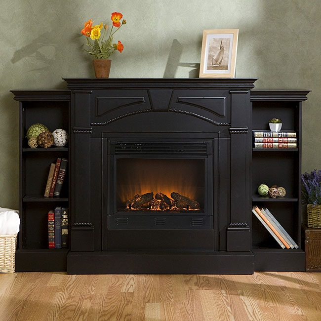 macon black electric fireplace with bookcases 11558762 shopping great deals. Black Bedroom Furniture Sets. Home Design Ideas