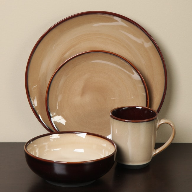 Sango Nova Brown 16 Piece Dinnerware Set 11585254