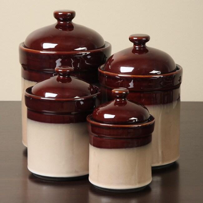 Sango Nova Brown 4-piece Kitchen Canister Set