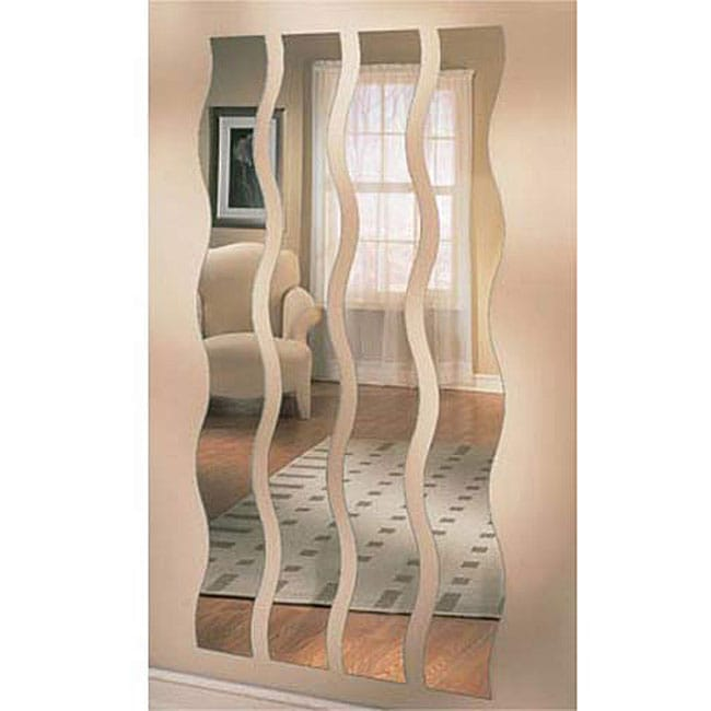 Set Of Four Wave Strip Mirrors 11603044 Overstock Com