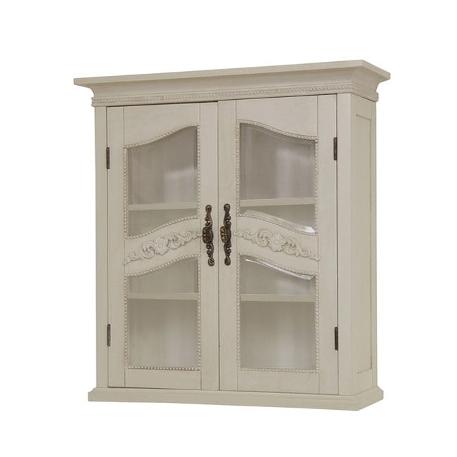 Cambridge Antique Ivory Wall Cabinet 11608142 Overstock Com Shopping Great Deals