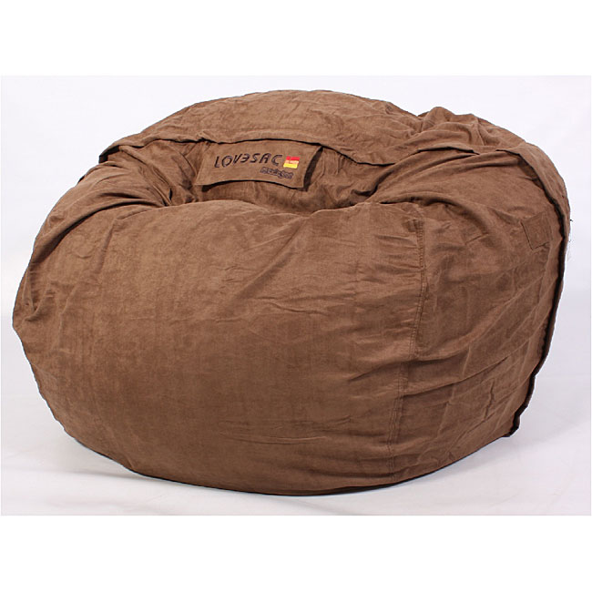 Lovesac 6 Feet Brown Microsuede Bean Bag Overstock