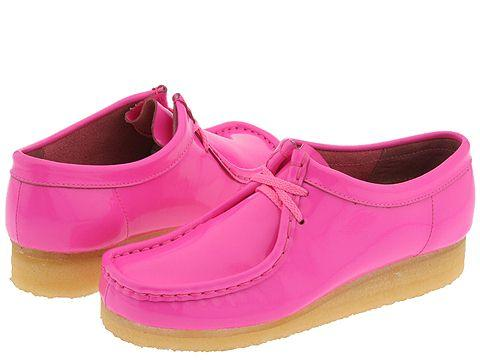 Clarks Wallabee Womens Bright Pink Patent Leather