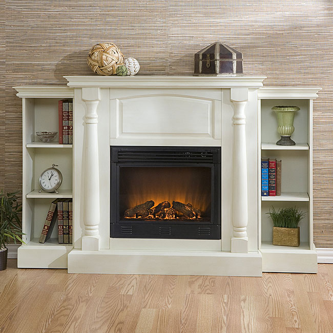 Grenoble White Bookcase Electric Fireplace With Remote