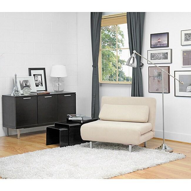 Jolene Cream Fabric Convertible Chair Day Bed 11776261