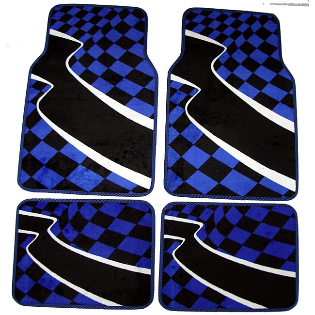 Checkered Mat: Blue Checkered Flag Front And Rear Carpet Car Floor Mats