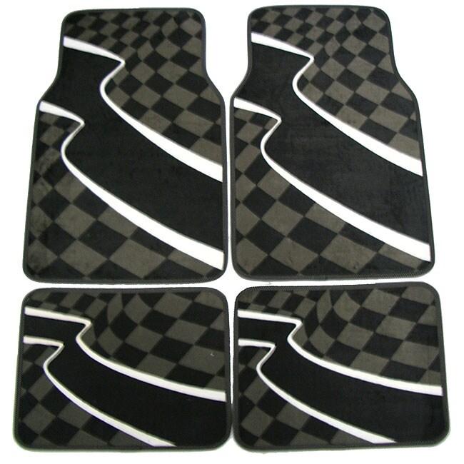 Checkered Mat: Grey Checkered Flag Front/ Rear Car Floor Mat Set