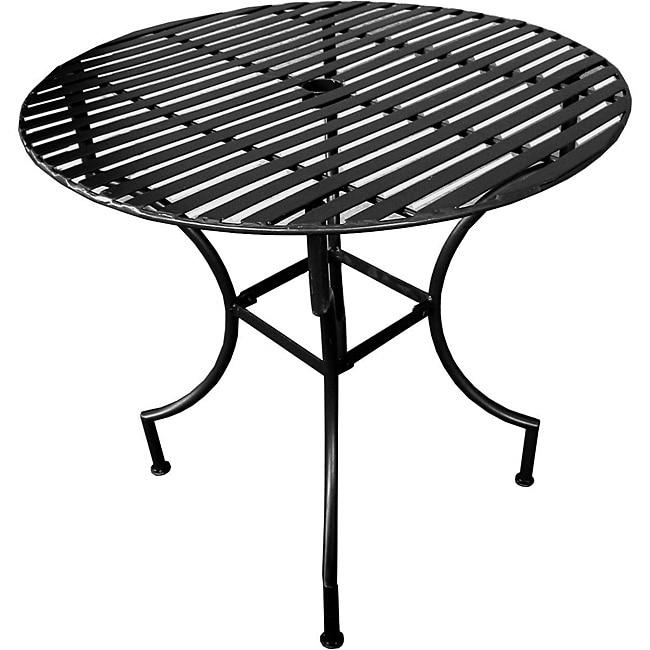 Iron Folding Round Patio Table With Umbrella Hole Black