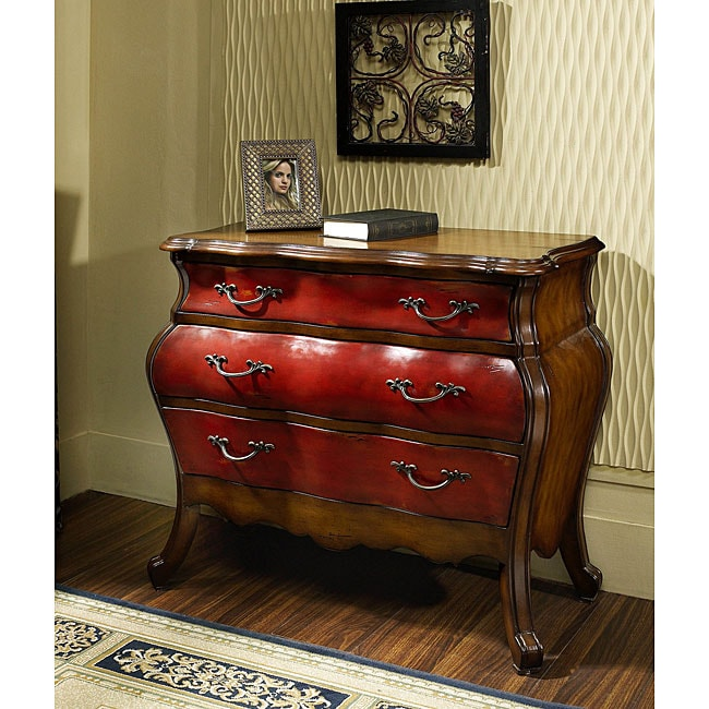 Hand Painted Cherry Chestnut Bombay Accent Chest