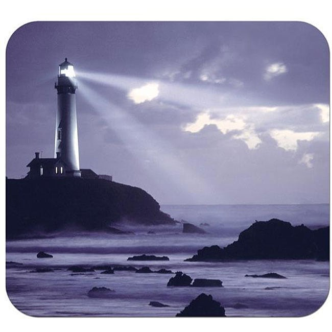 Purple Lighthouse Deluxe Antimicrobial Mouse Pad